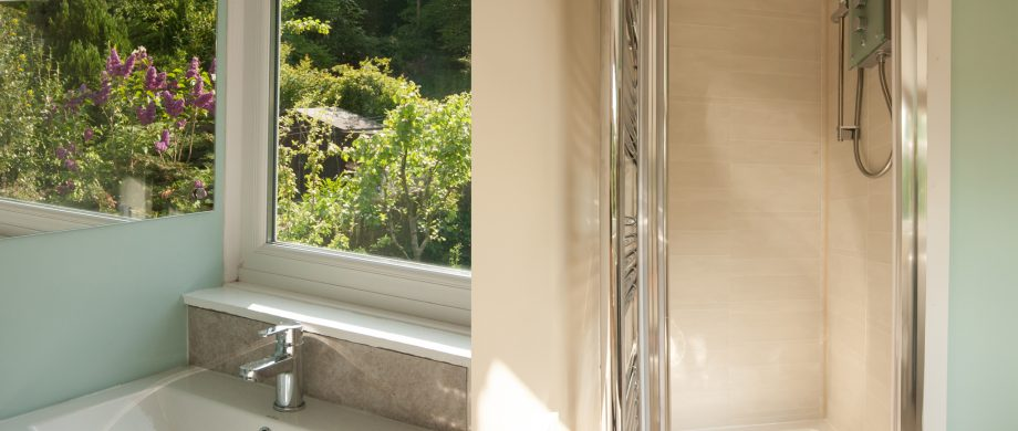 bathroom with a view at The Pink House Lulworth self catering accommodation Dorset