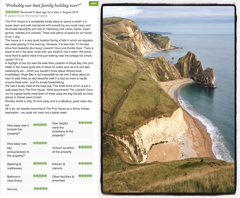 5 star review for The Pink House Lulworth