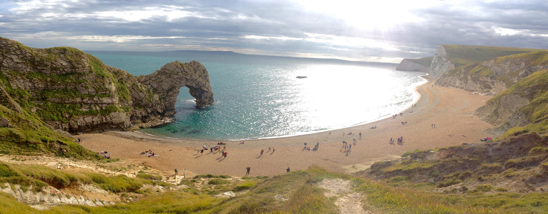 Durdle Door – the iconic limestone arch that extends into the sea along the Jurassic Coast of Dorset is close to The Pink House Lulworth