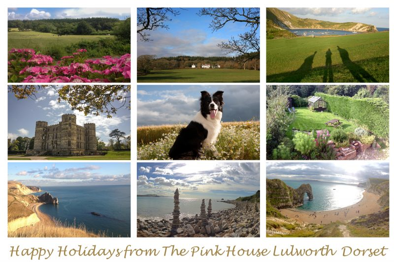 Happy Holidays postcard from The Pink House Lulworth