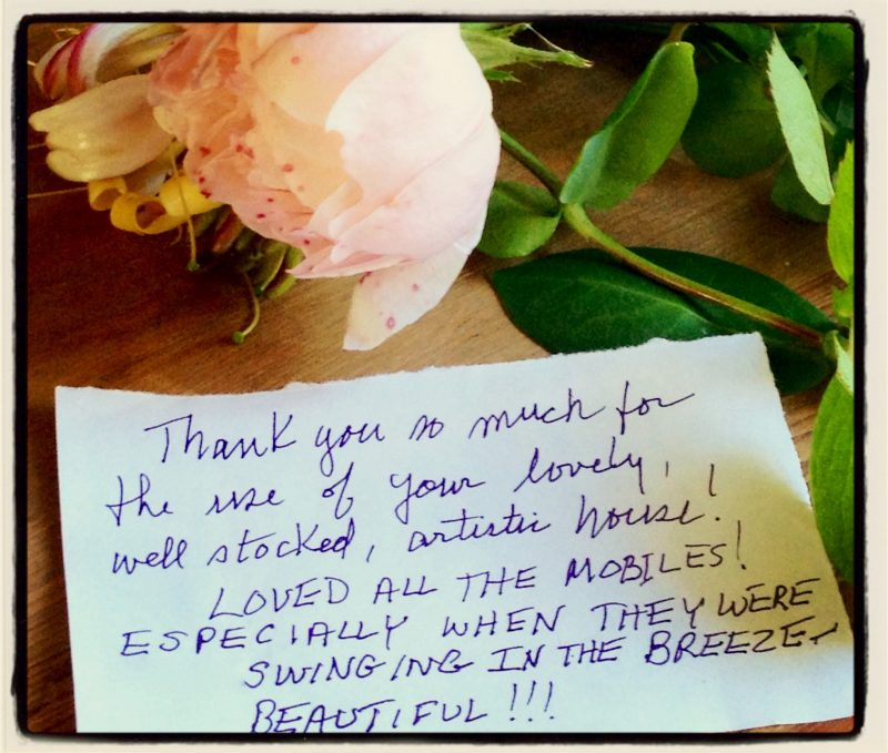 handwritten thankyou notes from holiday guests at The Pink House Lulworth Dorset