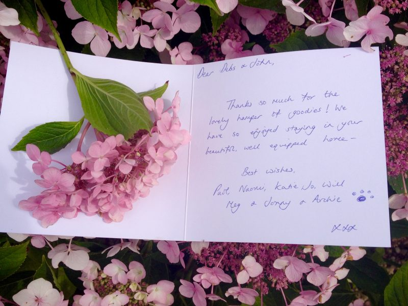 Thank You Note from recent guests at The Pink House Lulworth
